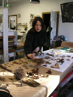 Talya Baharal working in the WSW papermaking studio In 2002