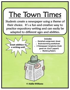 FREE expository writing activity - students write a themed newspaper.
