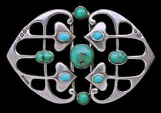 This is not contemporary - image from a gallery of vintage and/or antique objects. MURRLE BENNETT & CO Jugendstil Buckle Silver Turquoise Jewelry Crafts, Jewelry Art, Antique Jewelry, Vintage Jewelry, Jewelry Design, Bijoux Art Nouveau, Art Nouveau Jewelry, Turquoise Jewelry, Silver Jewelry