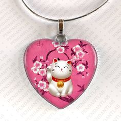 Pink Maneki Neko Pendant, Maneki Neko Necklace, Lucky Cat Jewelry, Beckoning Cat Charm, Talisman, Japan, Japanese, Welcoming Cat, Fortune