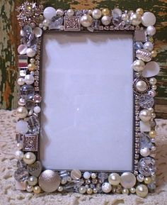 Mosaic Shabby Jeweled Picture Frame - 3 x 5 Photo Jewelry Frames, Jewelry Mirror, Frame Crafts, Diy Frame, Vintage Jewelry Crafts, Beads Pictures, Button Crafts, Mirrors, Decorated Picture Frames