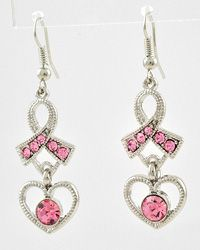 BBW425421-150ES Rhodiumized Pink Rhinestone  Lead Compliant  Pink Ribbon With Heart Dangle  Fish Hook Earring Set  8.99