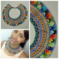 Okama pino kidua Artesania Iuma facebook-oldaláról mentve Beaded Collar, Beaded Choker, Beaded Earrings, Beaded Jewellery, Mexican Jewelry, Beaded Crafts, Native American Beading, Bead Art, Bead Weaving