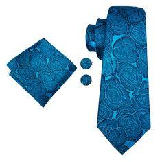 Ocean Blue Floral Tie Pocket Square Cufflinks Set – ties2you