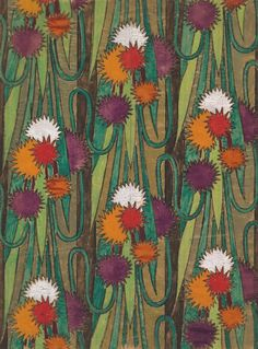 f-featherbrain: From a group of 158 textile designs from an unidentified French designer. 1910-1929 ca. The designs include brightly colored patterns and single motifs in late Art Nouveau and Art Deco styles. Charcoal, gouache and gold paint