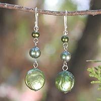 Pearl earrings, 'Sumptuous Green Trio' from Thailand through Novica