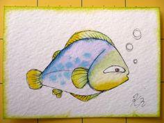 Oops, I Craft My Pants Watercolor Fish, Watercolor Ideas, Fish Drawings, Pet Rocks, Ocean Life, Painted Rocks, Winnie The Pooh, Disney Characters, Fictional Characters