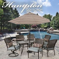 The chairs of this Hampton #outdoor #dining collection have a unique, lattice-look back, topped with strong, plush cushions for extra comfort.