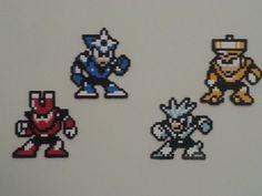 Megaman 3 Masters V1( Shadowman, Magnetman, Geminiman and Topman) perler beads by DuctileCreations on deviantART