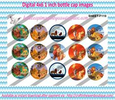 """1"""" Bottle Caps (4X6) F119 lion king  CARTOONS/KIDS BOTTLE CAP IMAGES #cartoons #inspired #kids #bottlecap #BCI #shrinkydinkimages #bowcenters #hairbows #bowmaking #ironon #printables #printyourself #digitaltransfer #doityourself #transfer #ribbongraphics #ribbon #shirtprint #tshirt #digitalart #diy #digital #graphicdesign please purchase via link  http://craftinheavenboutique.com/index.php?main_page=index&cPath=323_533_42_54"""