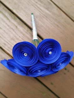 Paper Flower Bouquet 12 Royal Blue Yellow by ThePaperFlowerbed #blue #bridal bouquet