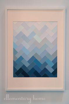 DIY tutorial - paint chip ombre herringbone art from ellementaryhome.blogspot.com