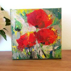 Red Poppies Original Contemporary Palette Knife Acrylic Painting 6x6 inches Canvas by Anne Thouthip Free Shipping To US Address by AnneThouthipFineArt on Etsy