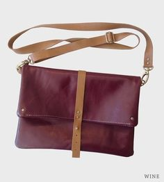 Foldover Leather Crossbody Bag, Wine | Women's Bags & Wallets | TCLA | Scoutmob Shoppe | Product Detail