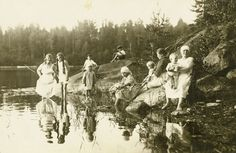 Finnish people by the lake