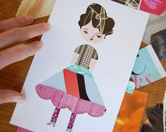 Love this idea - a bit of a twist on traditional paperdoll. The doll is cut out and you put clothes behind it... Just stock some different paterns, colors and texture materials from magazines.