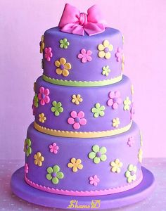 Bright, Colorful & Fun ~ Purple 3 Tier Cake with Pink, Green & Yellow Flowers Details