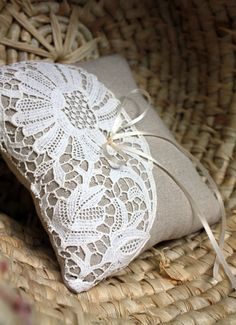 Lovely idea for a small lavender bag or sachet Wedding Ring Cushion, Wedding Pillows, Cushion Ring, Ring Bearer Pillows, Ring Pillows, Burlap Projects, Burlap Crafts, Lace Umbrella, Lace Ring