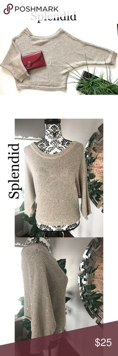 Anthropology Splendid women crewneck sweater Anthropology women sweater. Size large. No rips or stains. Its a thick sweater. Has some gold details. Its long sleeves. Color is tan. Non smoking home.   Approx. Measurement (Laying flat)  Pit to pit 21inch Length 20inch Sleeves 20inch  Material: 55% cotton 45%polyester Anthropologie Sweaters