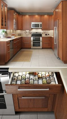 Spice drawer/not color scheme A kitchen that looks great & functions even better makes cooking that much more enjoyable! IKEA SEKTION kitchen interior organizers help to keep even the smallest items, like utensils and spices, neat and organized. Kitchen Redo, New Kitchen, Kitchen Dining, Kitchen Cabinets, Kitchen Ideas, Kitchen Utensils, Kitchen Planning, Basement Kitchen, Ikea Cabinets