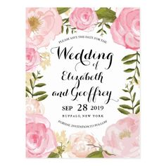 Modern Vintage Pink Floral Save the Date Postcard