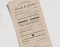 Wedding Mad Libs Printable Template Kraft Sign - Bride and Groom, Mr & Mrs - Marriage Advice Keepsake