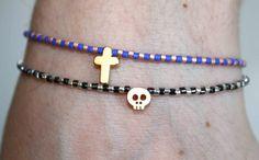Tiny Beaded Bracelet with Gold Tiny Skull by lizaslittlethings, $17.00
