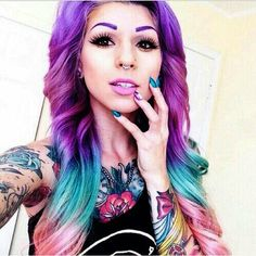 Purple and cotton candy hair