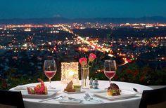 Romantic dinner over city