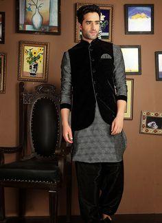 USD 121.13 Silver Sharwani With Black Designer Koti   40654