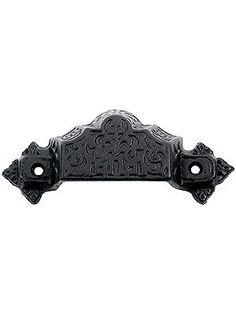"$5 Reproduction Bin Pulls. 4 3/8"" Ornate Cast Iron Bin Pull With Black Powder Coat"