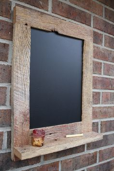 Reclaimed Barn Wood Rustic Chalkboard With Shelf - for J to make me for kitchen w/ left over wood.