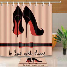 Fashion Black Shoes With Ribbon Bathroom Fabric Shower Curtain Set Long Fancy Shower Curtains, Shower Curtain Sets, Bathroom Shower Curtains, Curtain Rod Canopy, Curtain Call, Unisex Bathroom, Chanel Room, Bath Mat Sets, Girl Decor