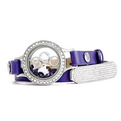 Purple Genuine Leather Wrap shown with Medium Living Locket and HALLOWEEN charms | LIMITED EDITION Origami Owl available at StoriedCharms.origamiowl.com
