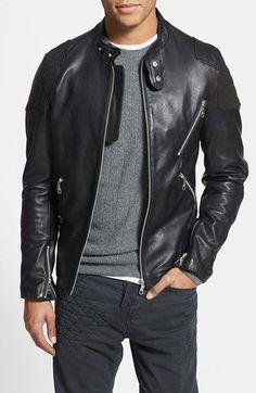 7 Diamonds 'Brando' Black Leather Moto Jacket with Suede Trim
