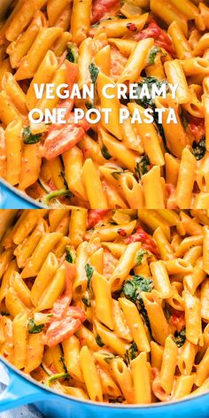 This vegan one-pot pasta is made with roasted red peppers, spinach and a beautiful, creamy cashew rosé sauce. It comes together in about 30 minutes! Tasty Vegetarian Recipes, Vegan Recipes Beginner, Vegan Dinner Recipes, Veggie Recipes, Whole Food Recipes, Healthy Recipes, Lactose Free Pasta Recipes, Recipes With Pasta, Easy Vegitarian Dinner Recipes