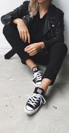 all black + chuck taylor converse.