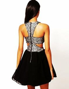 Rare Chiffon Cut Out Sequin Homecoming Dresses - LoveItSoMuch.com