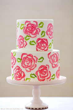 DIY Celery Stamp Rose Cake by Wild Orchid Baking Co  |  TheCakeBlog.com