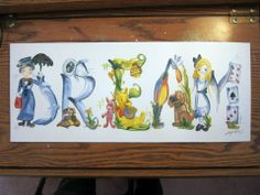 Dream - name painting. Mary Poppins, Eve/ Walle, Pooh + Piglet, Kevin and Doug from Up and Alice in Wonderland Name Art, Mountain Painting Acrylic, Word Drawings, Elementary Art Projects, Letter Art, Art, Book Art, Illustrated Words, Name Paintings