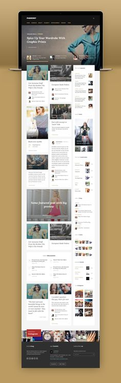 Fashiony trendy blog design on Behance