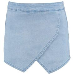 Boohoo Camila Mini Denim Skorts (38 AUD) ❤ liked on Polyvore featuring skirts, mini skirts, clothes - skirts, embellished mini skirt, blue denim skirt, denim skort, blue skort and sequin mini skirt