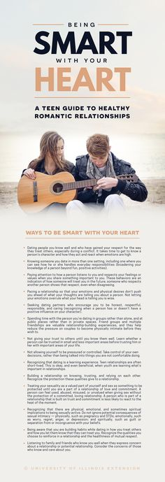 Being Smart with Your Heart: A Guide to Healthy Romantic Relationships. Click through for an educational teen relationship activity!