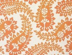 Orange paisley upholstery fabric