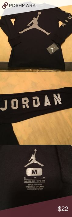 NWT AIR JORDAN Boys Long Sleeve Shirt NWT AIR JORDAN Boys Long Sleeve Shirt   Navy w/gray logo/writing. Size M (10-12) Air Jordan Shirts & Tops Tees - Long Sleeve