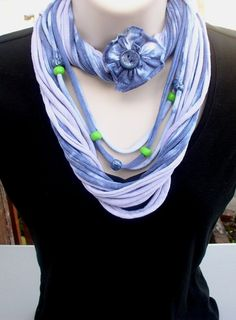 """Infinity scarf, """"FADED DENIM"""", T-shirt scarf, beaded necklace set, distressed, hombre, handmade, solar,  beads, tie dye, blue, lime green"""