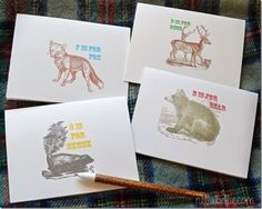 Free printables northwoods critters note cards