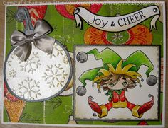 """Christmas card made using Make it Crafty image coloured with Prismacolor pencils. Banner from Lawn Fawn's """"Bannerific"""" set. Ornament cut using Cricut Winter Frolic set and embossed with Cuttlebug."""