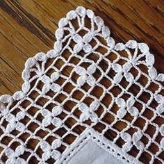 Ravelry: Filet crochet stueck's Handkerchief with large delicate edge Crochet Boarders, Crochet Motifs, Crochet Diagram, Crochet Stitches Patterns, Crochet Art, Filet Crochet, Crochet Designs, Crochet Crafts, Crochet Doilies
