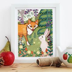 """'The Fox and The Hare' 10x8"""" Framed print"""